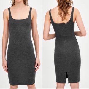 Zara Trafaluc gray tank slip on bodycon dress S